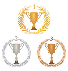winner cup trophies set laurel wreath golden vector image