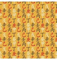 Set of feng shui hieroglyphs seamless pattern vector