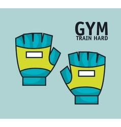 Training hard gloves gym design vector