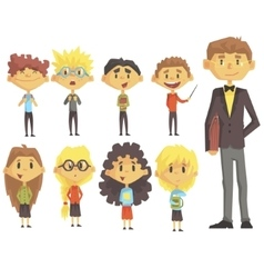 Elementary school group of schoolchildren with vector