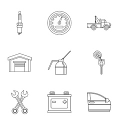 Repair machine icons set outline style vector