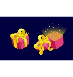 Cartoon gift boxes with bows and ribbons vector