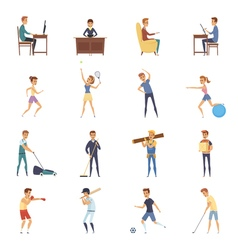 Active lifestyle character icons vector