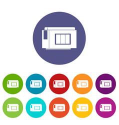 inkjet printer cartridge set icons vector image