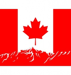mountains with flag of Canada vector image