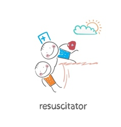 Resuscitator holding the hand of a patient from vector