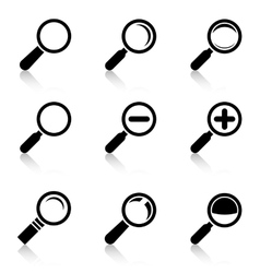 Magnifier glass icons with reflection vector