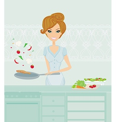 Beautiful housewife cooking lunch in the kitchen vector