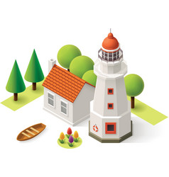 isometric lighthouse vector image