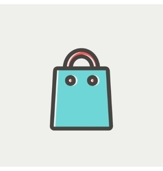 Shopping bag thin line icon vector
