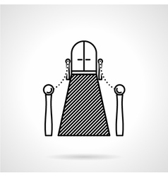 Entrance with carpet black line icon vector
