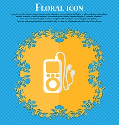 Mp3 player headphones music floral flat design on vector