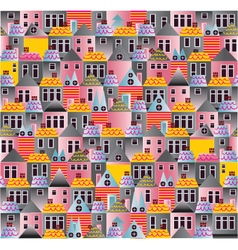 Seamless pattern old town cartoon houses vector