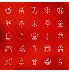 Christmas new year thin line icons set vector