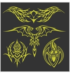 Tattoo set in tribal style on dark background vector