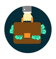 Hand with briefcase vector