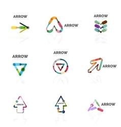 Set of linear arrow abstract logos connected vector