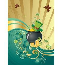 Gold and green shamrock background2 vector