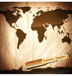Brass telescope at world map vector