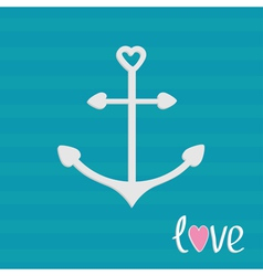 Anchor with shapes of heart striped background vector