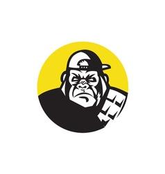 Angry gorilla head baseball cap circle retro vector