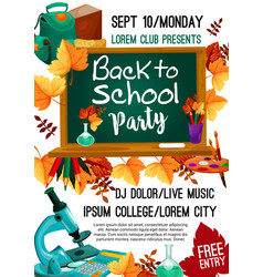 Back to school autumn party poster vector