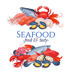 banners seafood vector image vector image