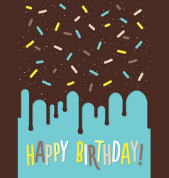 birthday greeting card with decorated cake vector image vector image