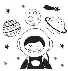boy astronaut in space scandinavian style vector image