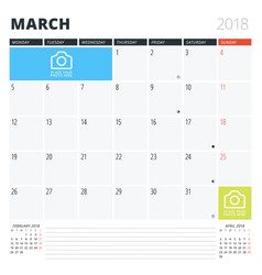 Calendar planner for march 2018 print design vector
