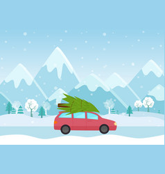 car with a christmas tree vector image vector image
