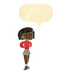 Cartoon pleased woman with speech bubble vector
