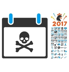 Death skull calendar day flat icon with vector