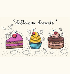 decorative sweets food delicious dessert set vector image