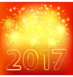 Fireworks for happy new year 2017 vector image