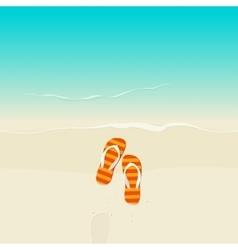 Flip flops on sea beach vector image vector image
