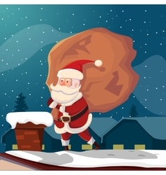 Funny santa claus on roof vector
