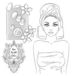 girl spa line art vector image