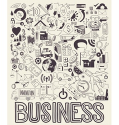 Hand drawn of business doodles elements vector image vector image