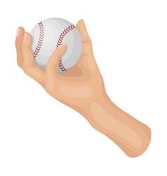 Hand with ball baseball single icon in cartoon vector