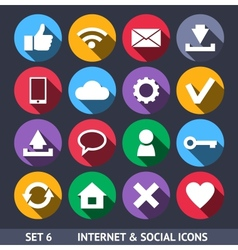 Internet and Social Icons With Long Shadow Set 6 vector image