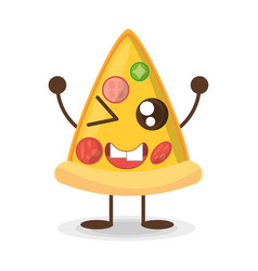 kawaii pizza fast food vector image