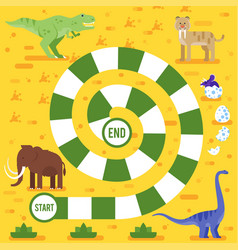 Kids board game with dinosaurs template vector