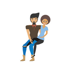 Man carrying woman relationship romance vector