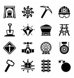 Mining icon set vector