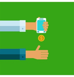 Pay and receive money using mobile devices vector image