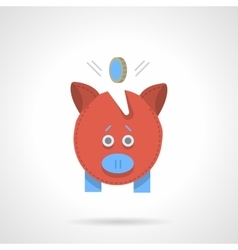 Red piggy bank flat color icon vector image
