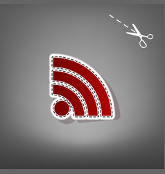 Rss sign red icon with for vector