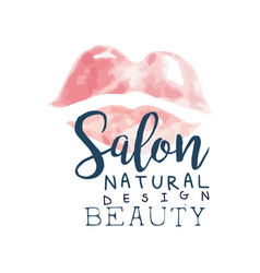 Salon natural beauty logo design label for hair vector