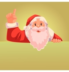 Santa claus pointing up on a gold background vector